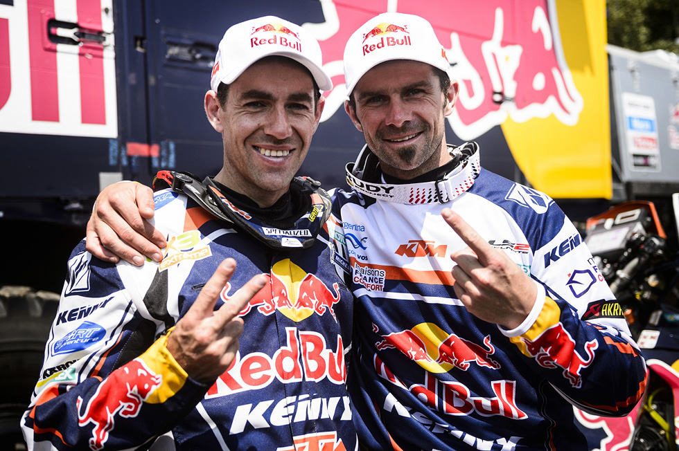 Cyril Despres and Ruben Faria at the finish of the 2013 Dakar Rally  - www.derestricted.com