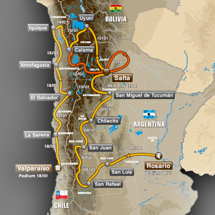 Route for the 2014 Dakar Rally - www.dakar.com